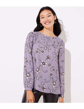 Petite Lilac Garden Pleat Yoke Blouse by Loft