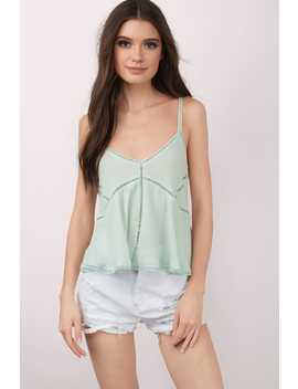 Reagan Mint Crepe Tank Top by Tobi