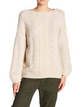 Cable Knit Boatneck Sweater by Vince