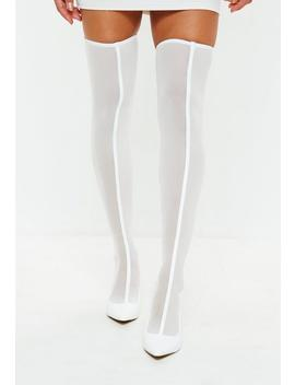 White Mesh Over The Knee Sock Boots by Missguided