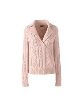 Lands' End   Pink Lofty Blend Moto Cable Cardigan by Lands' End