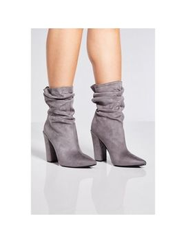 Quiz   Grey Faux Suede Slouch Calf Boots by Quiz