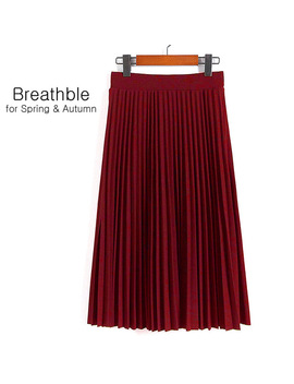 Spring And Autumn New  Fashion Women's High Waist Pleated Solid Color Half Length Elastic Skirt Promotions Lady Black Pink by She Bling Bling