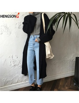 2018 Spring Autumn Long Knit Sweater Women Large Coat Casual Sweater Jacket Pockets Harajuku Long Cardigan Lady's Sweater by Hengsong