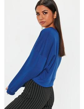 Blue V Neck Sweatshirt by Missguided