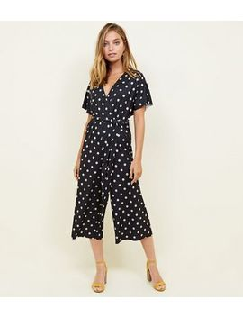 Petite Black Spot Print Wrap Culotte Jumpsuit by New Look