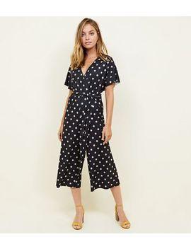 Petite Black Spot Print Wrap Culotte Jumpsuit by New Look