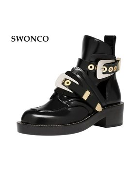 Swonco Gold Silver Buckle Ankle Boots For Women Fashion Cut Out Gladiator Low Heel Shoes Motorcycle Boots Spring Autumn Boot by Swonco