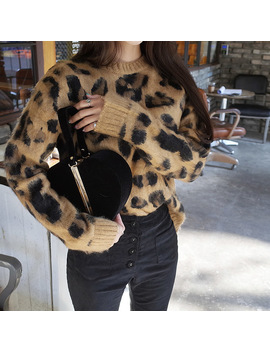 2018 New Autumn Winter Loose Long Knitted Sweater Women Long Sleeve O Neck High Quality Leopard Print Knitwear Female Sweater  by Ali Express
