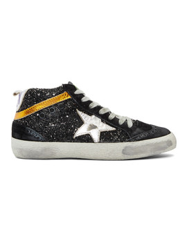Black Glitter Mid Star Sneakers by Golden Goose