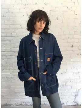 Vintage Big Ben Dark Wash Denim Chore Jacket / Vintage Contrast Stitch Denim Engineer Jacket / Dark Denim Railroad Jacket by Etsy