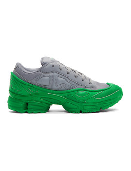 Green & Grey Adidas Originals Edition Ozweego Sneakers by Raf Simons