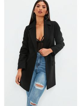 Black Button Front Slim Formal Coat by Missguided