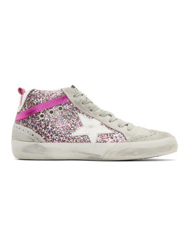Grey & Pink Glitter Mid Star Sneakers by Golden Goose