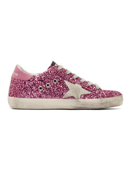 Pink Glitter Superstar Sneakers by Golden Goose