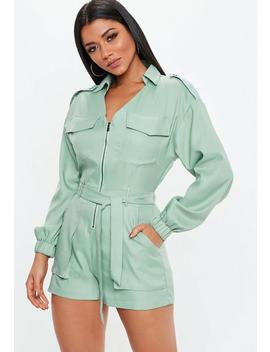 Green Utility Belted Playsuit by Missguided