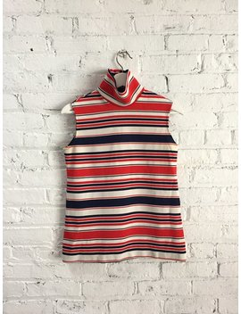 Vintage 60s Mod Striped Sleeveless Turtleneck / Red, White, Navy Blue Ribbed Mock Neck / Patriotic Top by Etsy