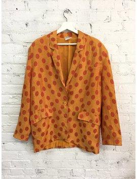 Vintage 80s Missoni Polka Dot Blazer / Orange Linen Blazer / Oversize Slouchy Blazer by Etsy