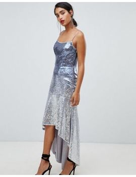 Chi Chi London Sequin Embellished Cami Strap Midi Dress With Fluted Hem by Chi Chi London
