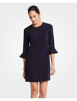 Petite Doubleweave Fluted Sleeve Shift Dress by Ann Taylor