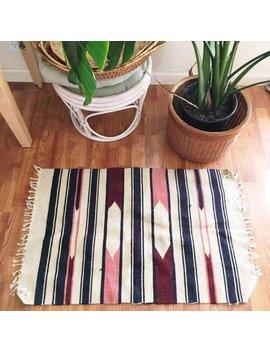 Vintage Woven Wool Area Rug : Bohemian Wool Rug, Bedside Rug, Desk Rug by Etsy