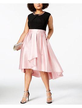 Plus Size Mikado Satin High Low Dress by Sl Fashions