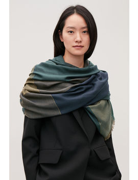 Interwoven Checked Wool Scarf by Cos