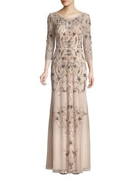 Quarter Sleeve Embroidered Evening Gown by Aidan By Aidan Mattox