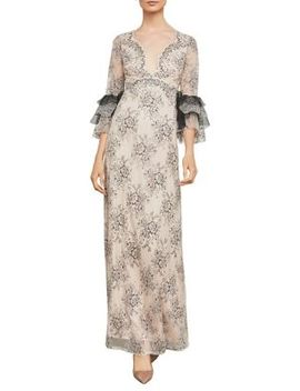 Cascading Floral Lace Gown by Bcbgmaxazria