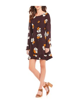 Leena Floral Print Long Sleeve Ruffle Hem A Line Dress by Cupcakes &Amp; Cashmere