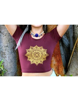 Henna Mandala Fitted Crop Tee by Etsy