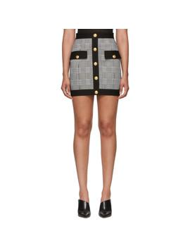 Black & White Houndstooth Miniskirt by Balmain