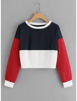 Drop Shoulder Color Block Sweatshirt by Romwe