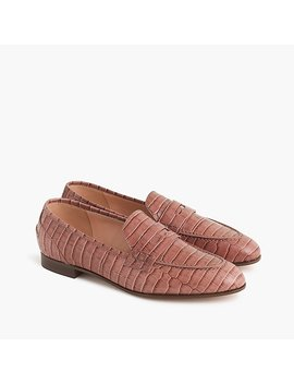 Academy Penny Loafers In Croc Embossed Leather by J.Crew