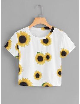Sunflower Print Crop Tee by Romwe