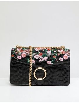 Liquorish Embroidered Crossbody Bag With Hardware by Liquorish