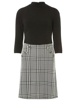 Black Button Check 2 In 1 Dress by Dorothy Perkins