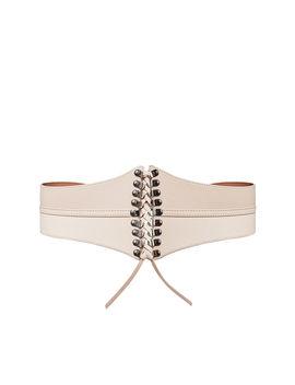 Faux Leather Corset Waist Tie Belt by Bcbgmaxazria