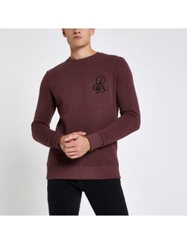 Dark Red Muscle Fit Crew Neck Sweatshirt by River Island