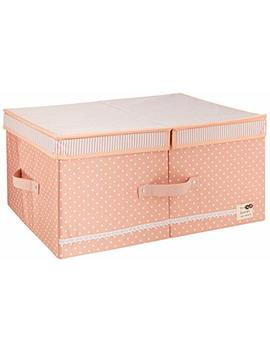 Cloth Organizer Storage Boxes With Lids And Removable Dividers, Folding Storage Bins And Cute Color For Girls, Peachy by Iwill Create Pro