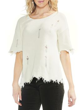 Drop Shoulder Distressed Fray Hem Top by Vince Camuto