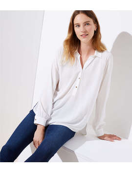 Collared Henley Blouse by Loft