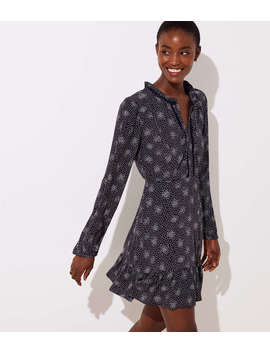 Scattered Dot Split Neck Dress by Loft