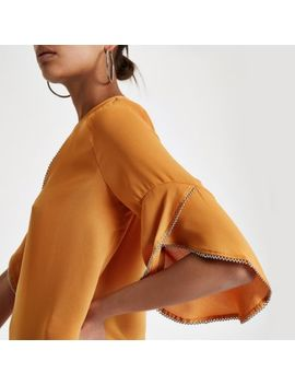 Dark Orange Beaded Frill Blouse by River Island