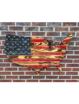 Rustic Usa Map American Wooden & Engraved Flag, Wood Flag, America Decor, Outdoor Decor by Etsy