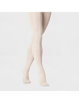 Women's Oatmeal Cable Sweater Tights   Beige by A New Day™