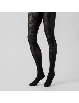 Women's Shiny Jacquard Tights   A New Day™ Black by A New Day™