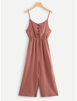 Button Detail Solid Cami Romper by Romwe