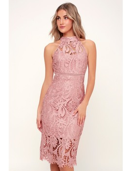 Isla Pink Lace Halter Midi Dress by Bardot