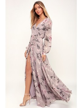 Loving You Dusty Purple Floral Print Long Sleeve Wrap Maxi Dress by Lulus